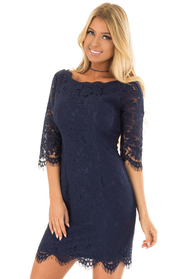 Navy Floral Lace A Line Dress with 3/4 Sleeves front closeup