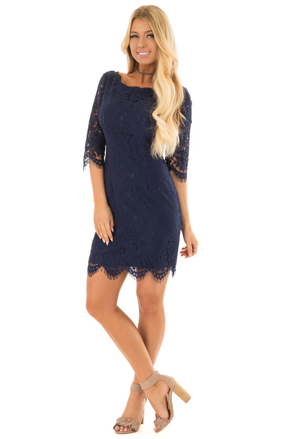 Navy Floral Lace A Line Dress with 3/4 Sleeves front full body