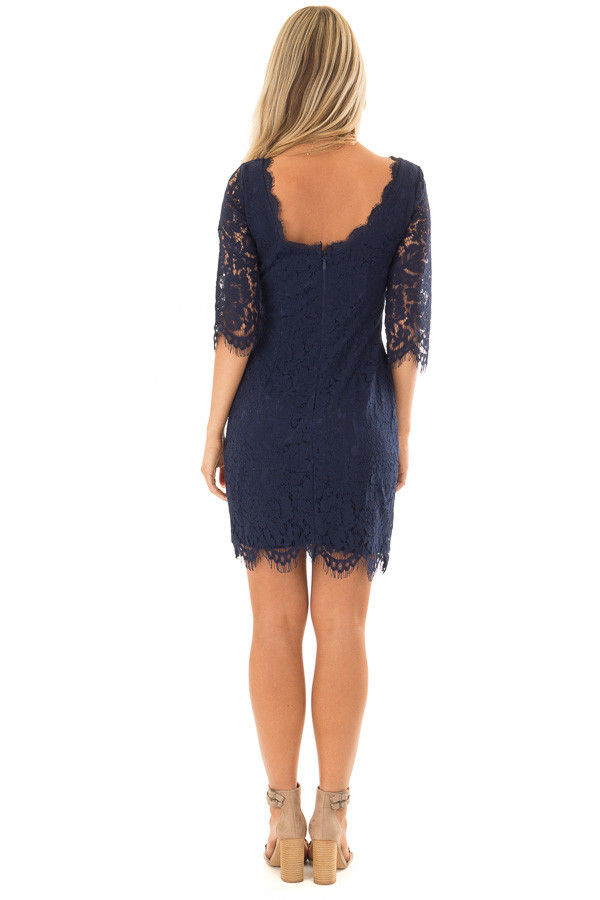 Navy Floral Lace A Line Dress with 3/4 Sleeves back full body