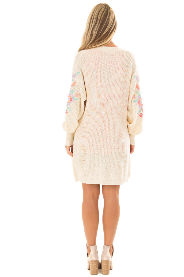 Ivory Open Knit Cardigan with Embroidered Detail back full body