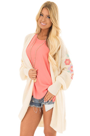 Ivory Open Knit Cardigan with Embroidered Detail front closeup