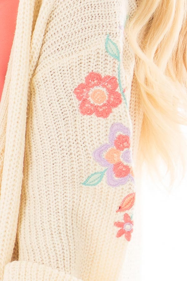 Ivory Open Knit Cardigan with Embroidered Detail side detail
