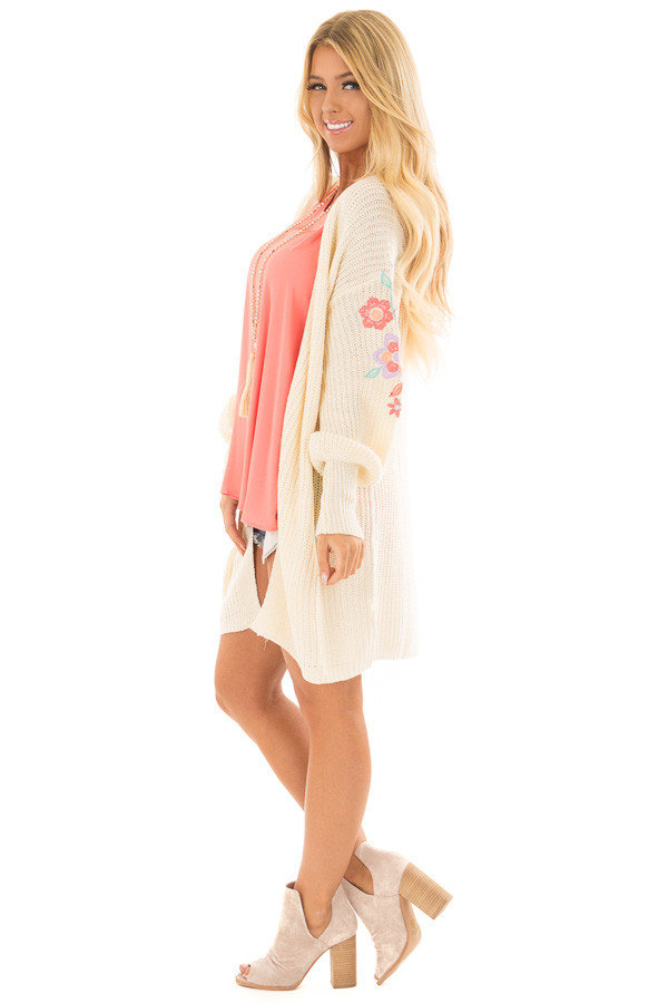 Ivory Open Knit Cardigan with Embroidered Detail side full body