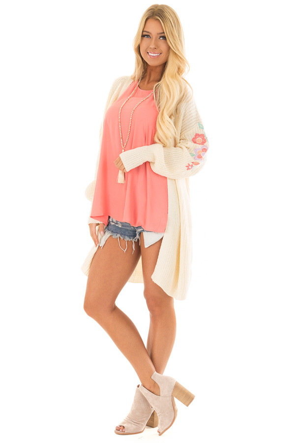 Ivory Open Knit Cardigan with Embroidered Detail front full body
