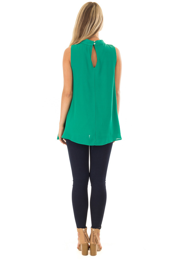 Emerald Green Loose Fit Sleeveless Blouse back full body