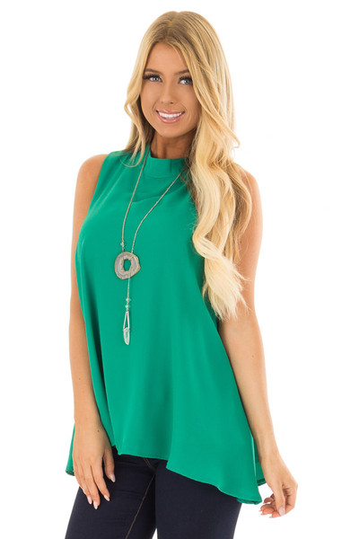 Emerald Green Loose Fit Sleeveless Blouse front closeup