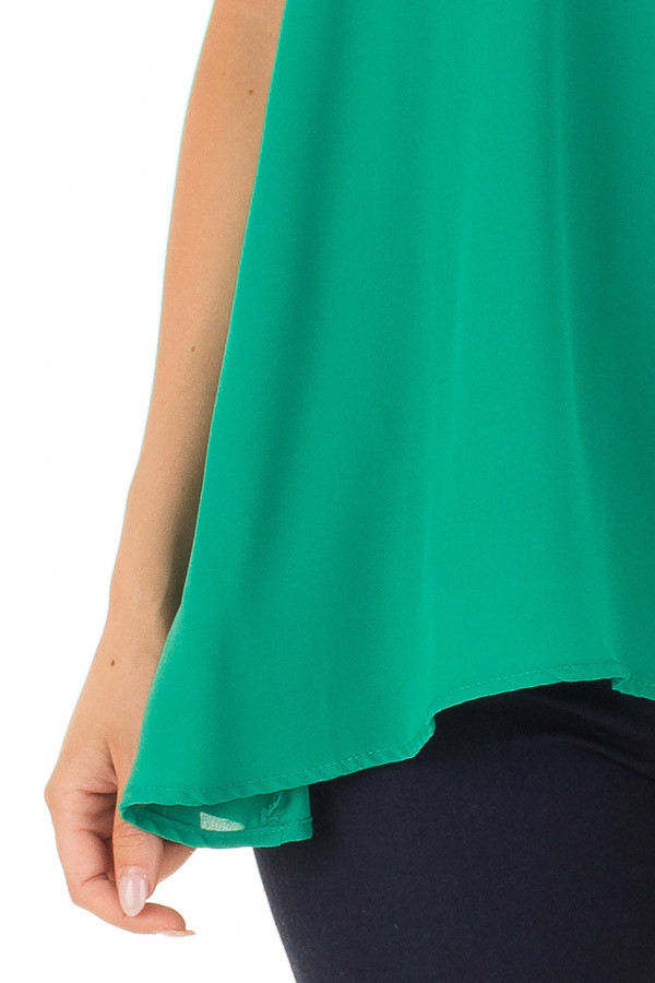Emerald Green Loose Fit Sleeveless Blouse front detail