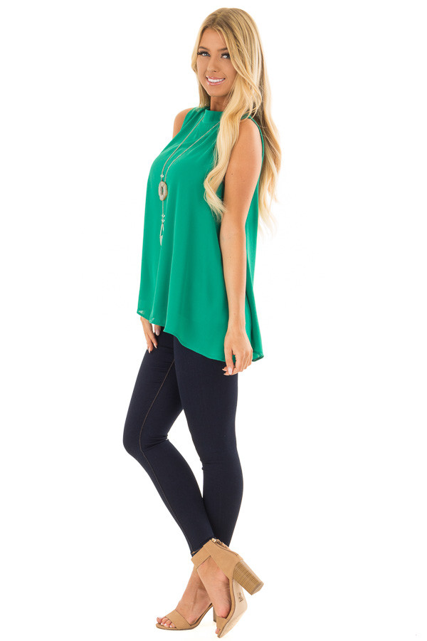Emerald Green Loose Fit Sleeveless Blouse side full body