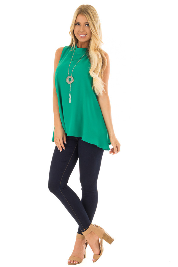 Emerald Green Loose Fit Sleeveless Blouse front full body
