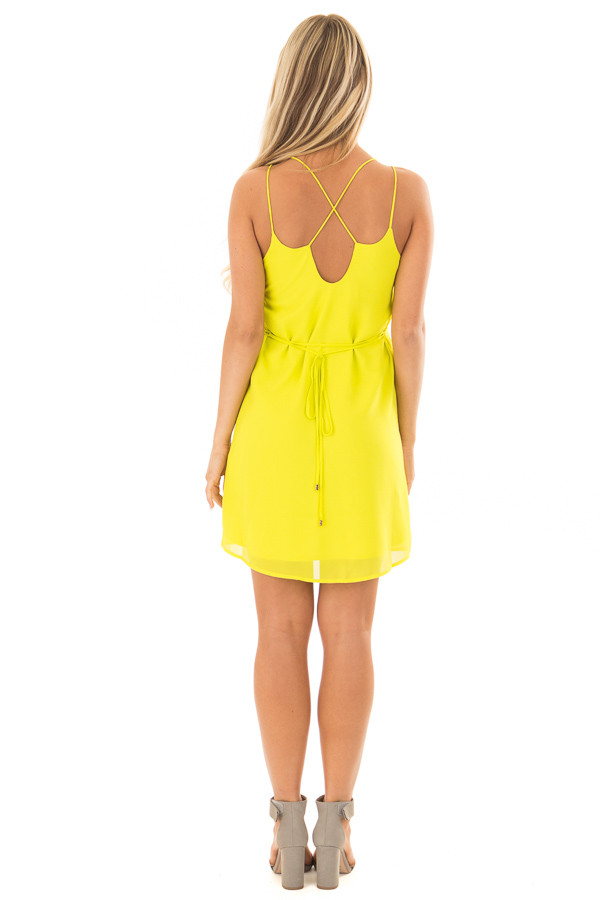 Bright Citrus Green Dress with Strappy Back and Waist Tie back full body