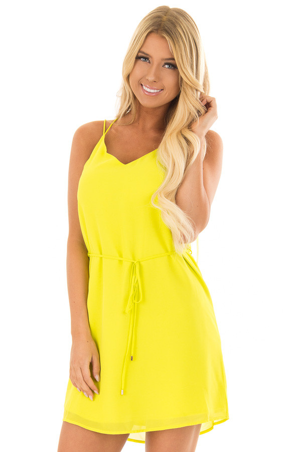 Bright Citrus Green Dress with Strappy Back and Waist Tie front closeup
