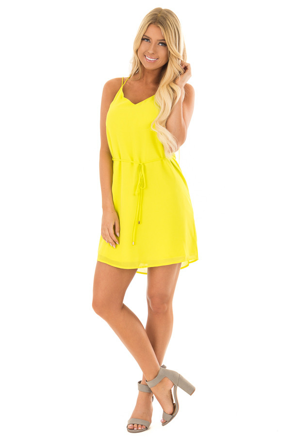 Bright Citrus Green Dress with Strappy Back and Waist Tie front full body