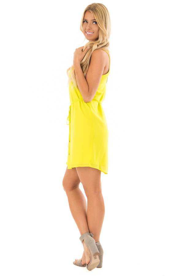 Bright Citrus Green Dress with Strappy Back and Waist Tie side full body