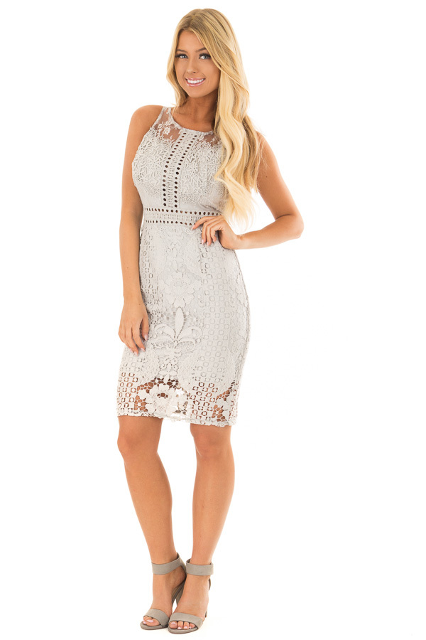 Light Sea Foam Floral Lace A Line Dress with Zipper Back front full body