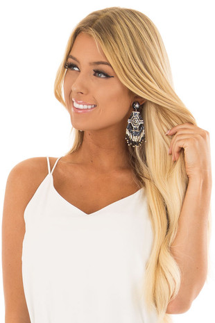 White Intricate Tribal Beaded Earrings