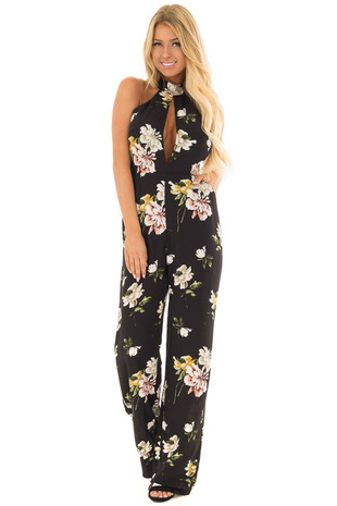 Black Floral Halter Jumpsuit with Side Pockets front full body