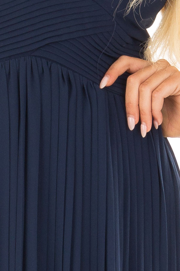Navy Pleated Maxi Dress with Deep V Neckline front detail
