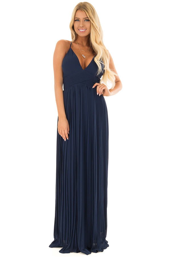 Navy Pleated Maxi Dress with Deep V Neckline front full body