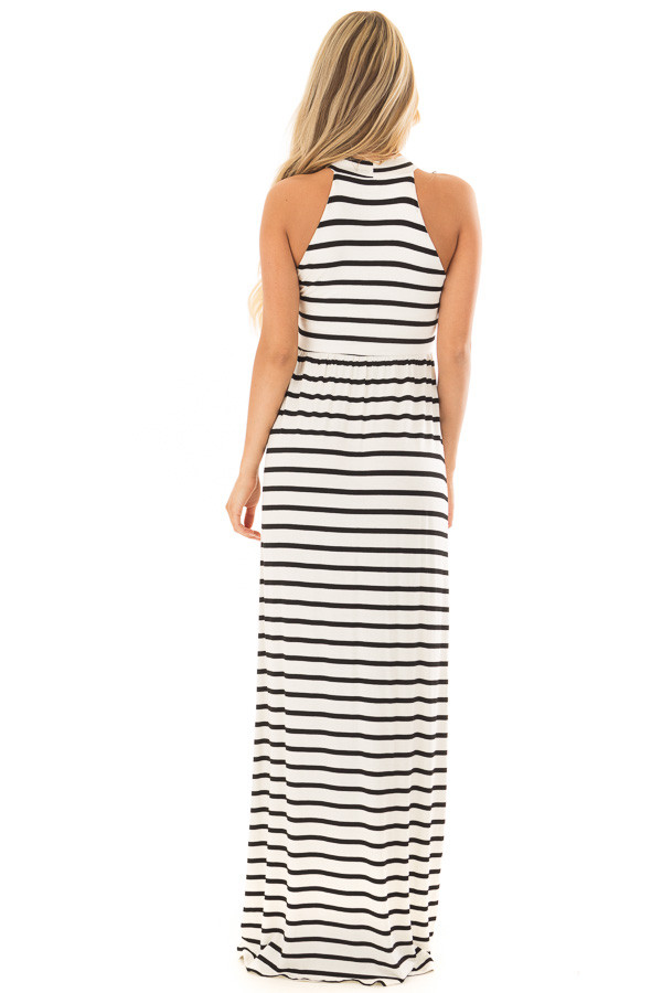 Ivory and Black Striped Maxi Dress with Jewel Neck back full body