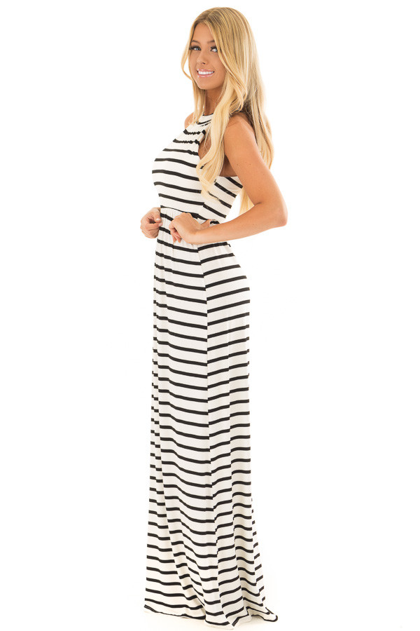 Ivory and Black Striped Maxi Dress with Jewel Neck side full body