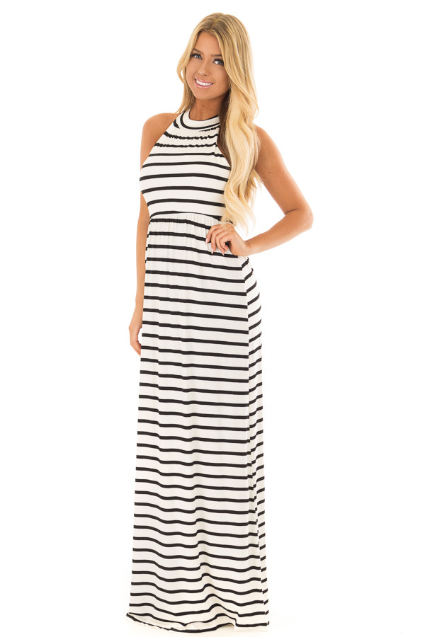 Ivory and Black Striped Maxi Dress with Jewel Neck front full body