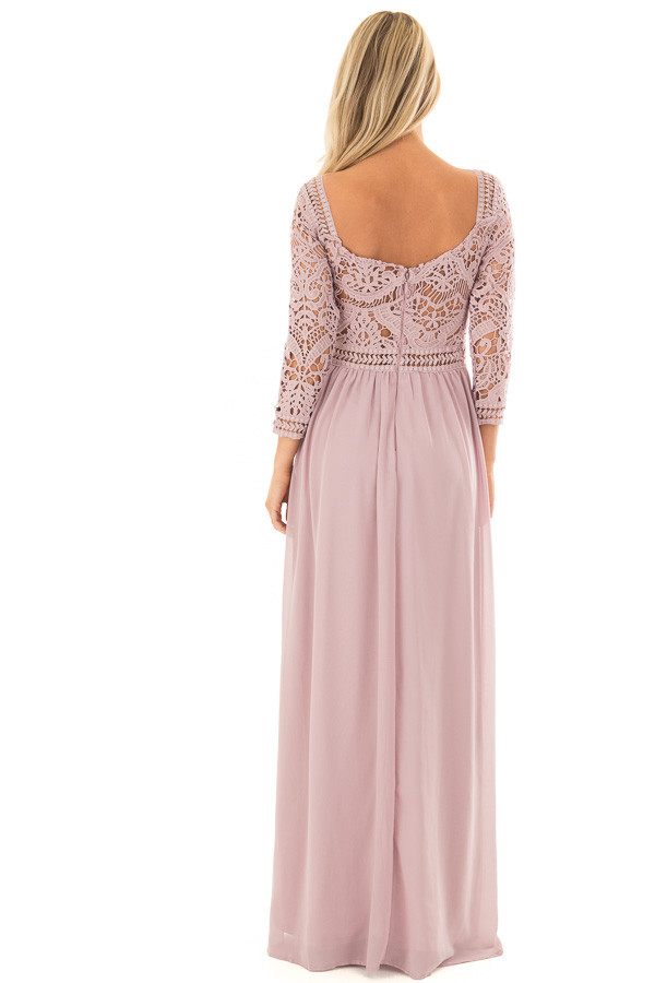 Mauve 3/4 Sleeve Lace Top Maxi Dress back full body