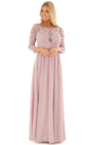 Mauve 3/4 Sleeve Lace Top Maxi Dress front closeup