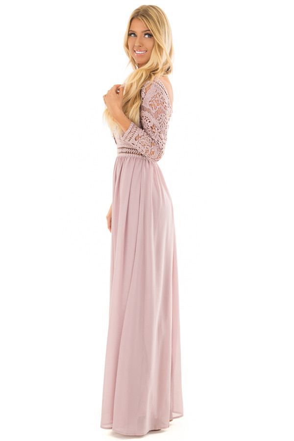 Mauve 3/4 Sleeve Lace Top Maxi Dress side full body