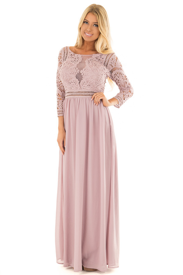 Mauve 3/4 Sleeve Lace Top Maxi Dress front full body