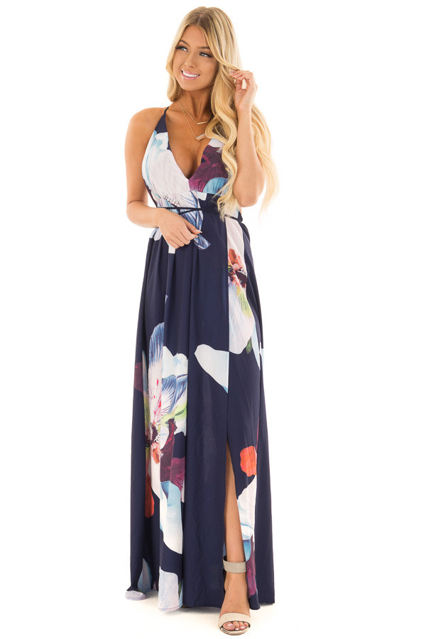 Navy Floral Halter Top Maxi Dress front full body