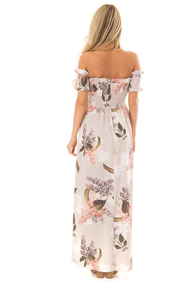 Beige Floral Off Shoulder Maxi Dress with Layered Front back full body