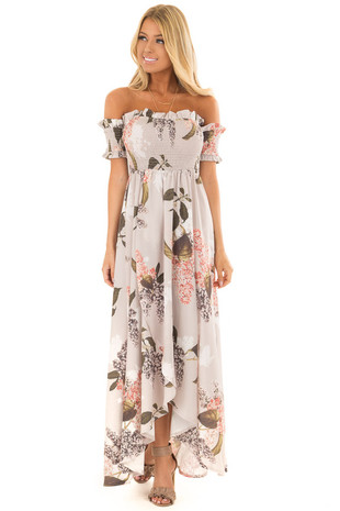Beige Floral Off Shoulder Maxi Dress with Layered Front front close up