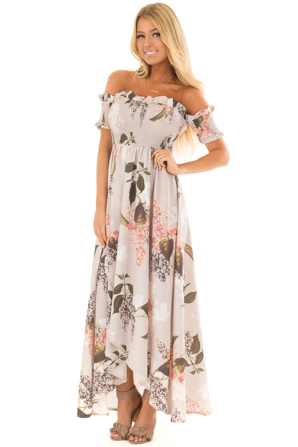 Beige Floral Off Shoulder Maxi Dress with Layered Front front full body