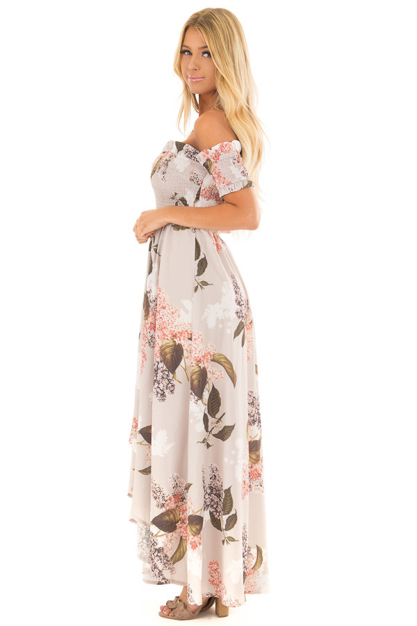 Beige Floral Off Shoulder Maxi Dress with Layered Front side full body