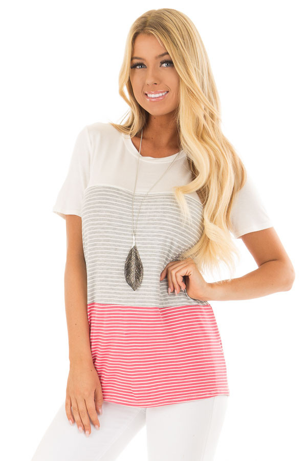 Ivory and Punch Pink Striped Color Block Tee Shirt front close up