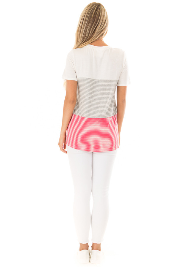 Ivory and Punch Pink Striped Color Block Tee Shirt back full body