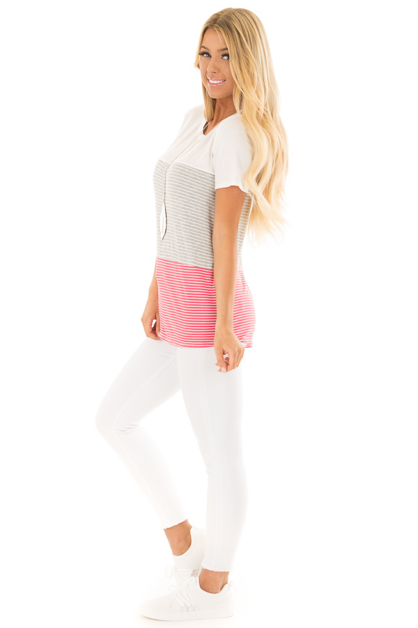 Ivory and Punch Pink Striped Color Block Tee Shirt side full body