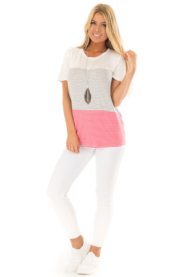 Ivory and Punch Pink Striped Color Block Tee Shirt front full body