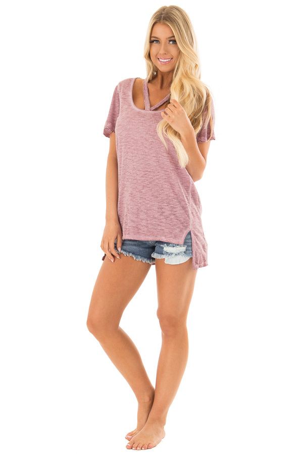 Wine Mineral Wash Top with V Strap Neckline front full body