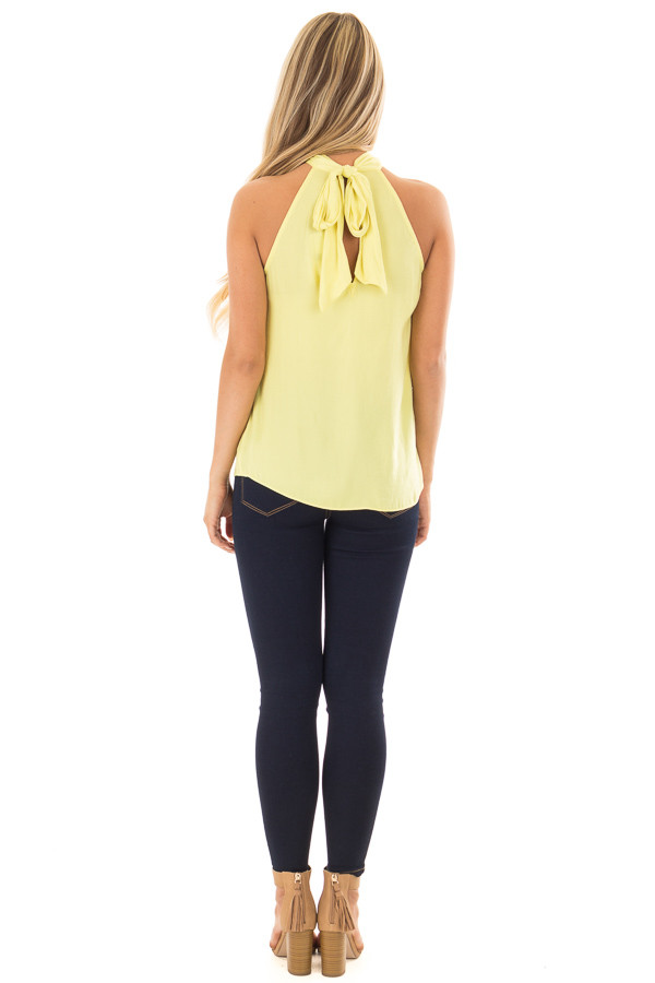 Sunshine Yellow Flowy High Neck Tank Top with Tie Detail back full body