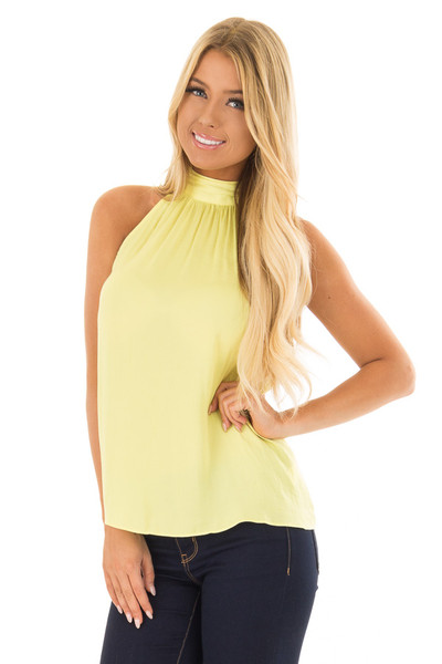 Sunshine Yellow Flowy High Neck Tank Top with Tie Detail front close up