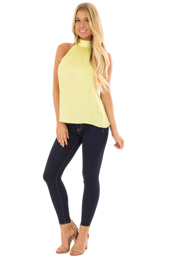 Sunshine Yellow Flowy High Neck Tank Top with Tie Detail front full body