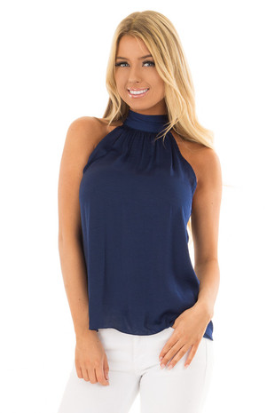 Twilight Navy Flowy High Neck Tank Top with Tie Detail front close up