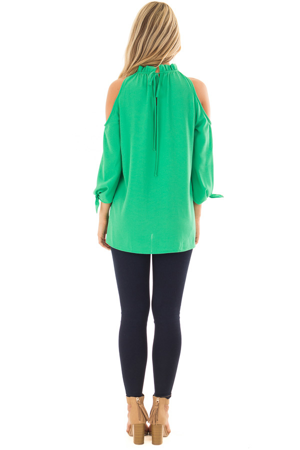 Kelly Green Cold Shoulder Blouse with Tie Sleeves back full body