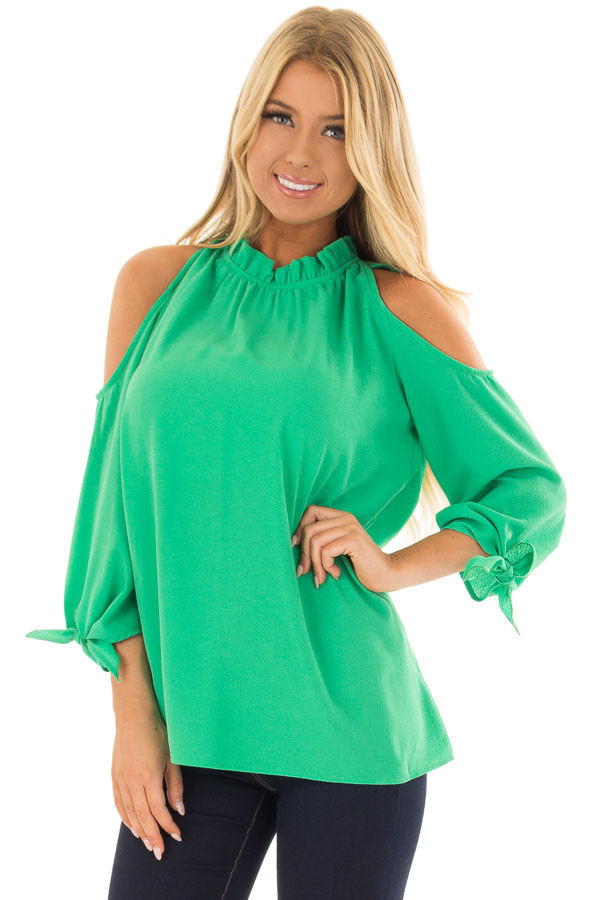Kelly Green Cold Shoulder Blouse with Tie Sleeves front close up
