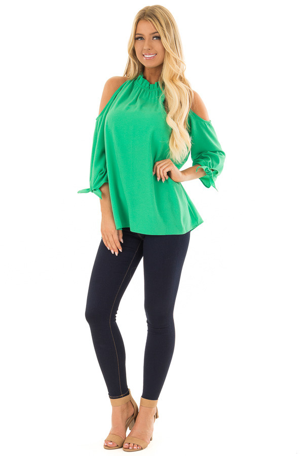 Kelly Green Cold Shoulder Blouse with Tie Sleeves front full body