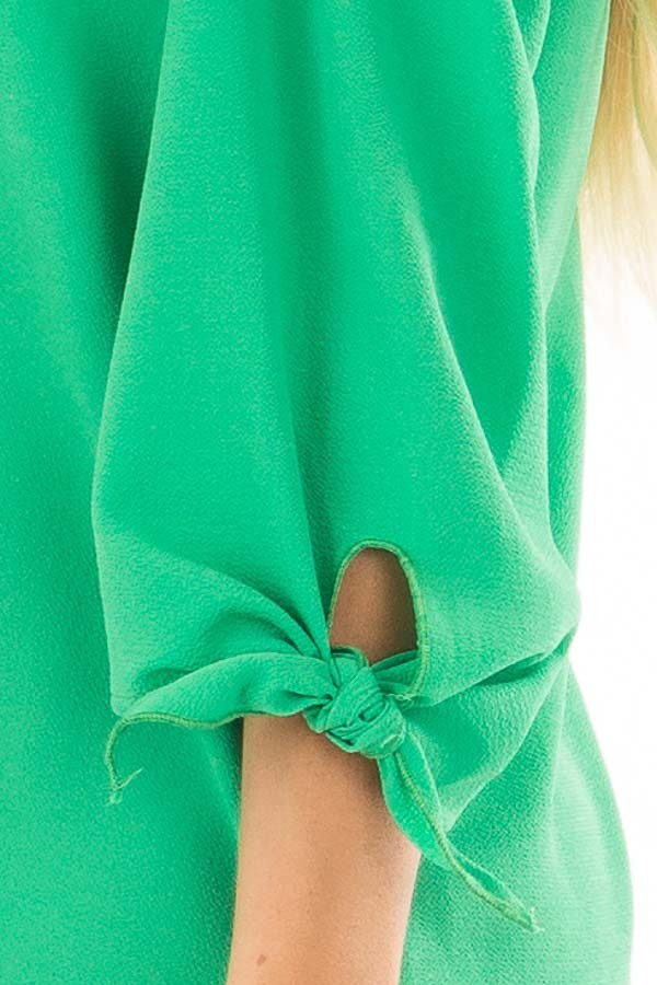 Kelly Green Cold Shoulder Blouse with Tie Sleeves detail