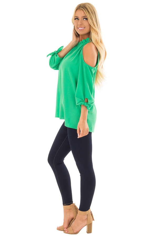 Kelly Green Cold Shoulder Blouse with Tie Sleeves side full body