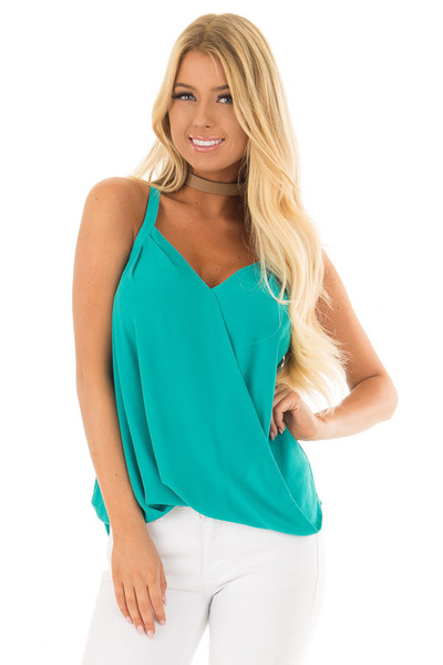 Sea Green Cross Over Bubble Hem Tank Top front close up