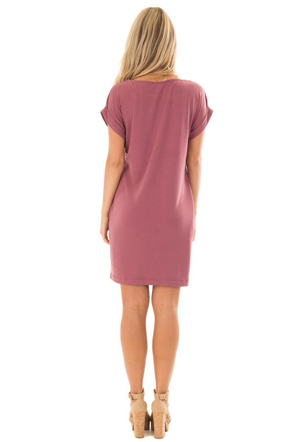 Washed Burgundy Short Sleeve Dress with Side Pockets back full body